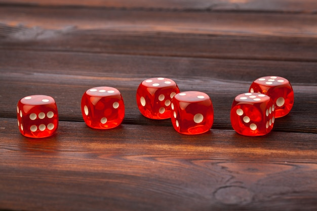 Dice on wooden table