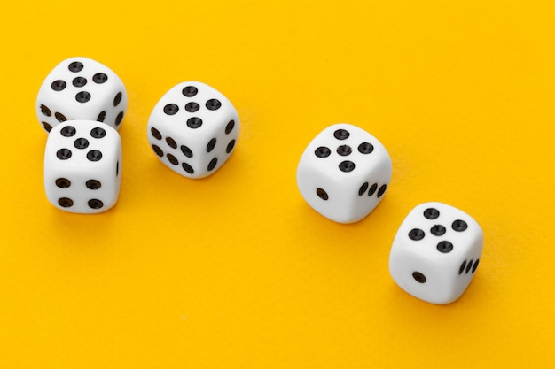 Dice on a yellow background