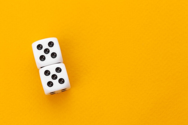 Dice on a yellow