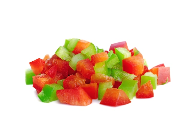 Diced red and green pepper isolated on white background,top view