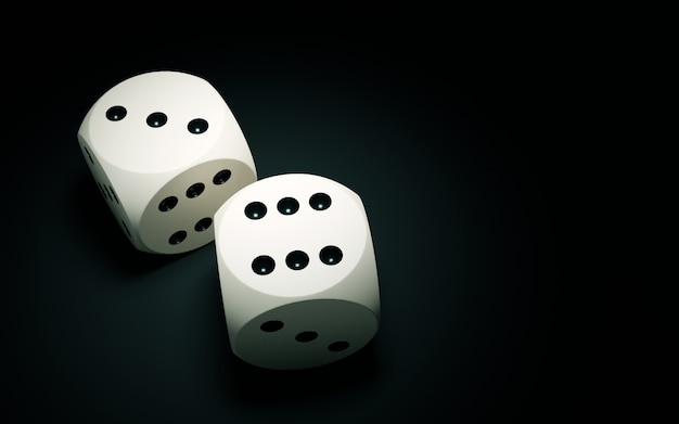 Dices on a dark surface.
