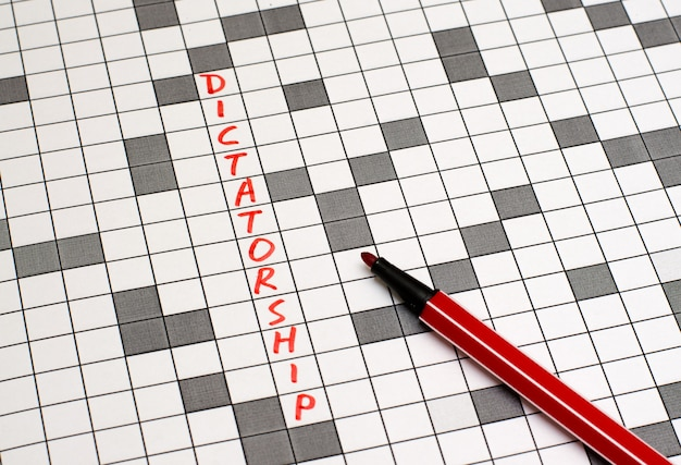 Dictatorship. text in crossword. red letters