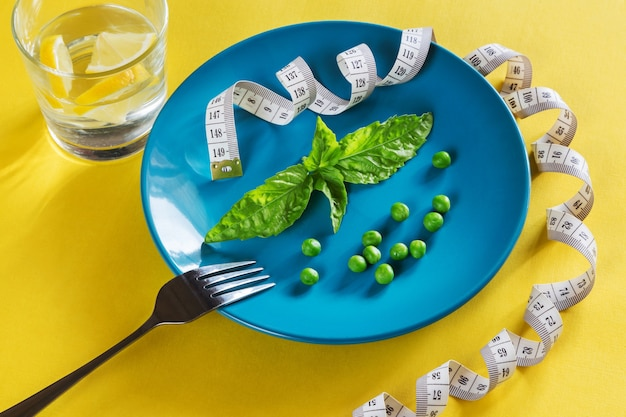 Diet blue plate with centimeter