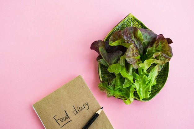 Diet concept. food diary and plate with lettuce on pink