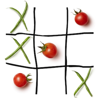 Diet concept hazardous game for health tic tac toe on a white surface