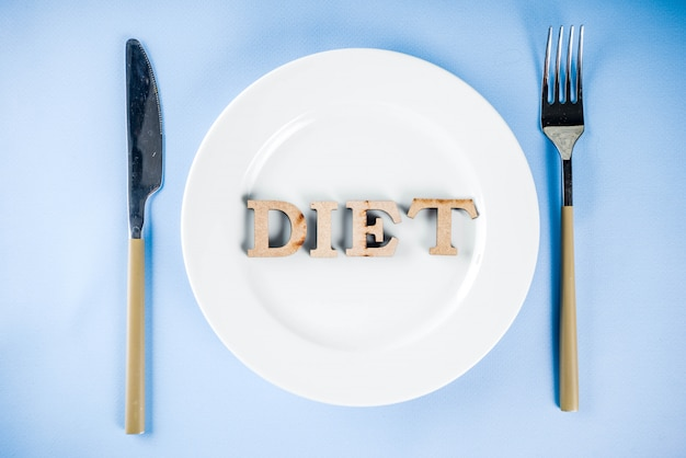 Diet concept with plate