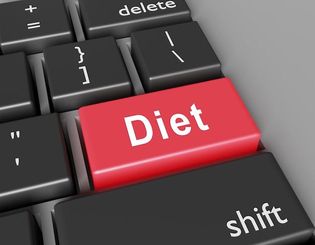Концепция диеты. слово диета на кнопке компьютерной клавиатуры