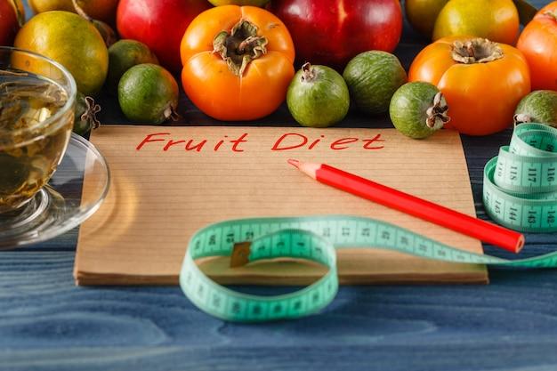 Diet fruit apple centimeter wooden table