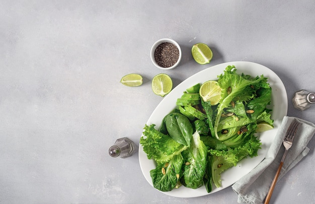 Diet green salad plate top view