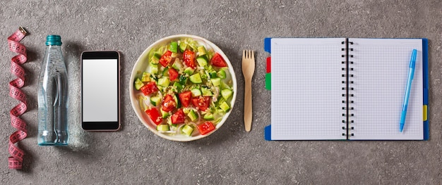 Diet nutrition plan with clean foods and water