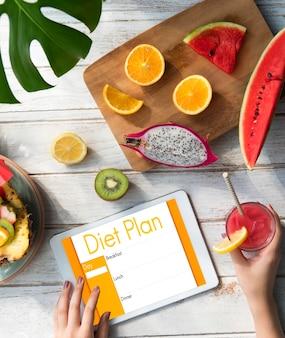 다이어트 계획 영양 식사 선택 제한 개념