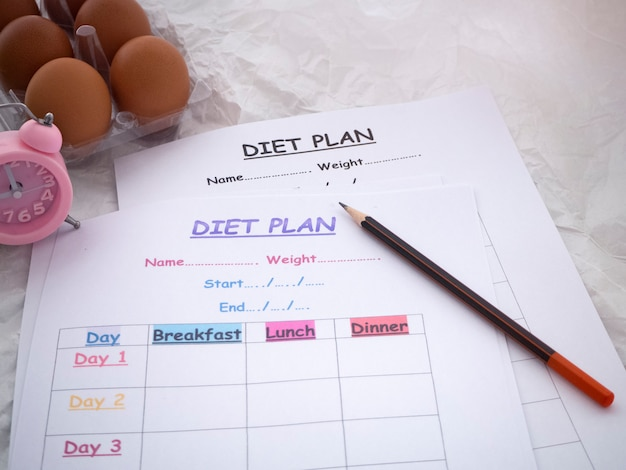 The diet schedule plan and pen put, health care concept