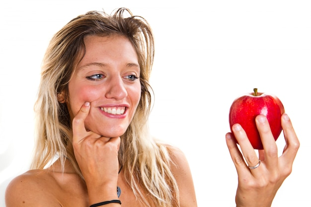 Diet woman with red apple