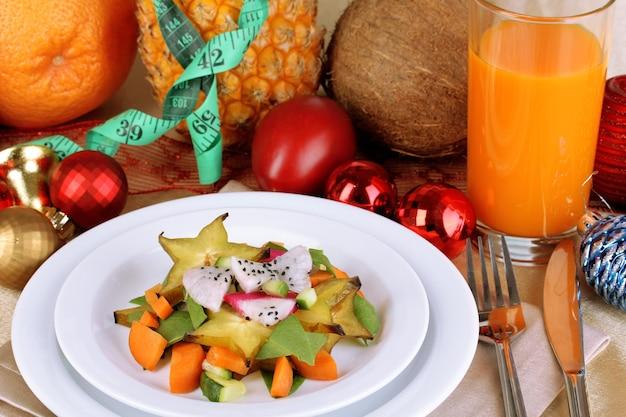 新年のテーブルのクローズアップの食事療法