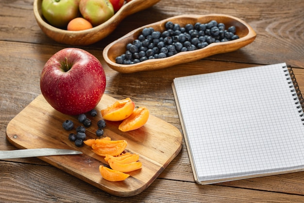 Dietary healthy food from fresh fruits. cooking healthy diet eating