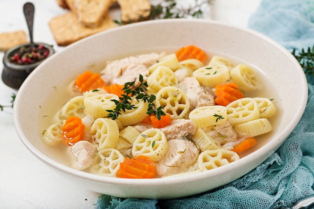Dietary soup with turkey or chicken fillet with pasta ruote