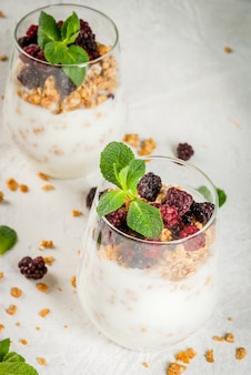 Dietary vegan healthy breakfast. yogurt and granola with fresh blackberry oranges and mint in a glass. on a white table. close view