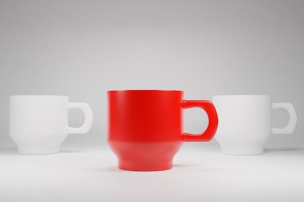 ユニークなまたはリーダーの概念のための違いの色のコーヒーティーカップマグカップ3dイラスト