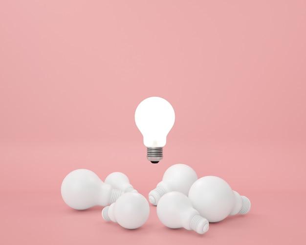 Разница лампочка на розовом. минимальная креативная идея концепции.