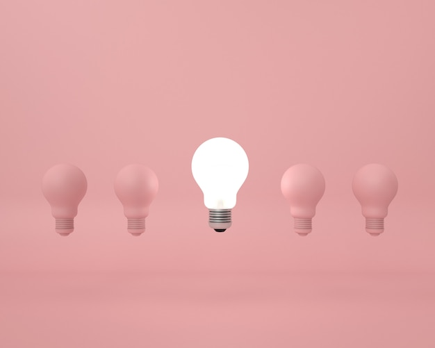 Difference lightbulb on pink . minimal creative idea concept.