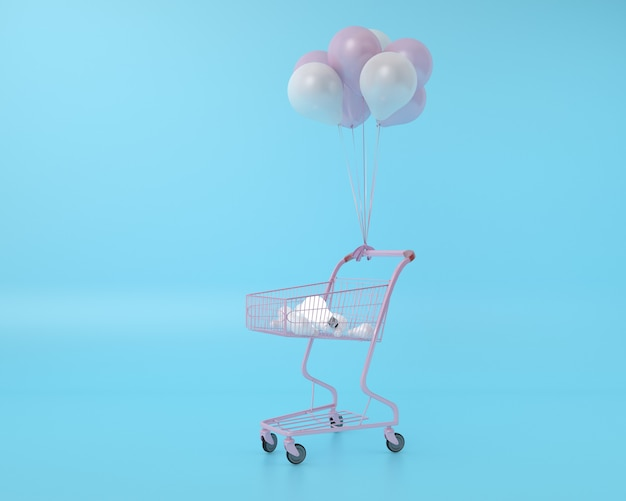 Difference lightbulb in shopping cart with balloon