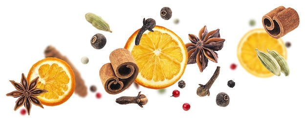 Different aromatic spices, igredients for mulled wine isolated on white background