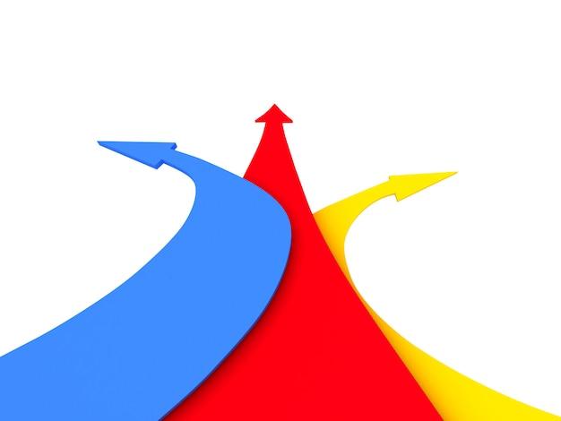 Different arrows direction. 3d rendering illustration