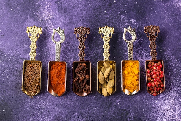 Different asian or indian spices on purple background