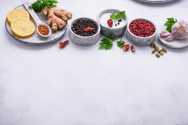 Different asian spices in small bowls