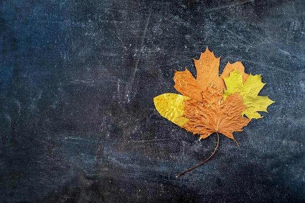 Different autumn metallic gold copper leaf bouquet