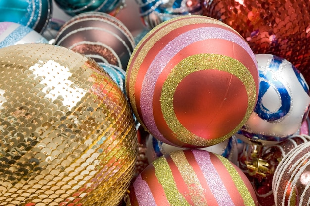 Different balls of christmas with diversity colors