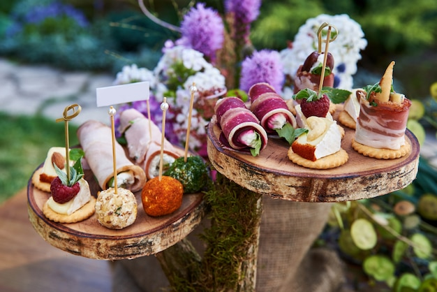 Different canapes with smoked salmon, cucumber, tomatoes, cheese, meat. breakfast buffet table with a variety of snacks. buffet served table with snacks,fruits,canape,sweets and appetizers.