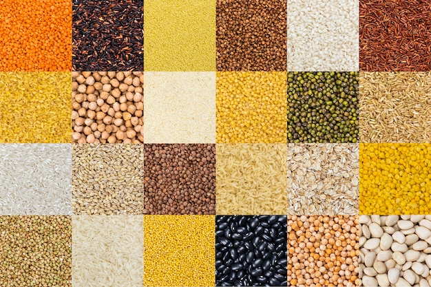 Different cereals, grains, rice and beans backgrounds