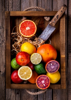 Different citrus fruit . summer background.