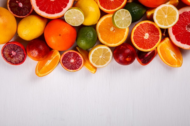 Different citrus summer fruit.