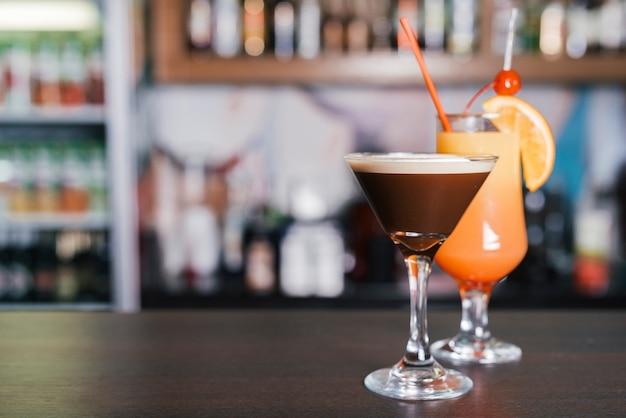 Different cocktials in a bar