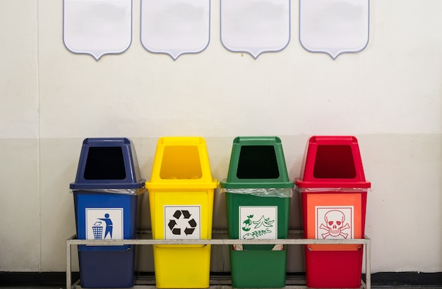Different color bins for collection of recycle materials
