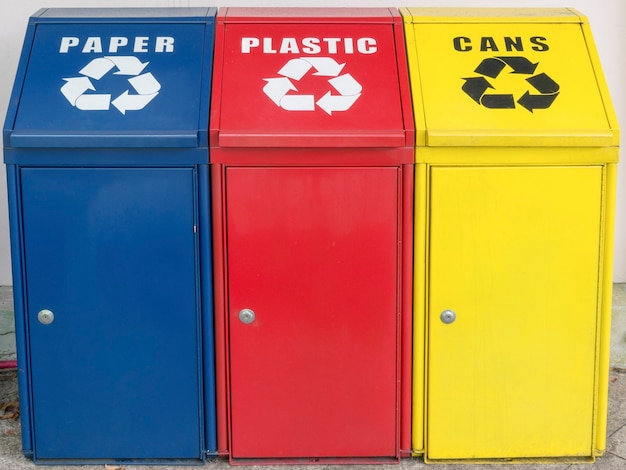 Different color containers for garbage recycling