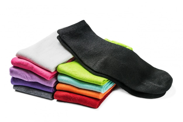 Different color socks isolated