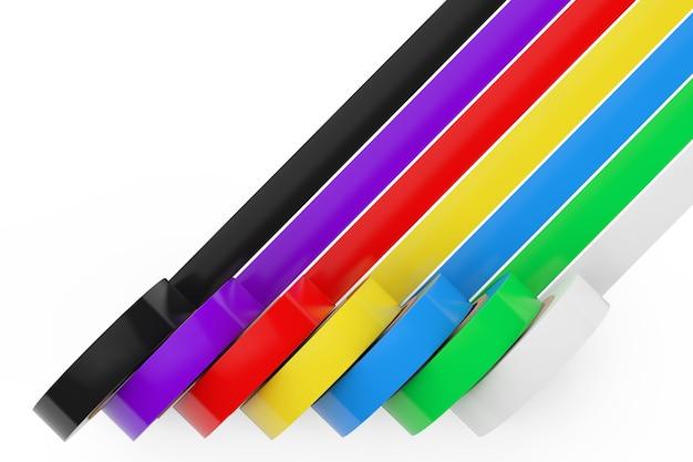 흰색 배경에 다른 색된 접착 절연 테이프. 3d 렌더링.