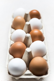 Different colored eggs arrangement