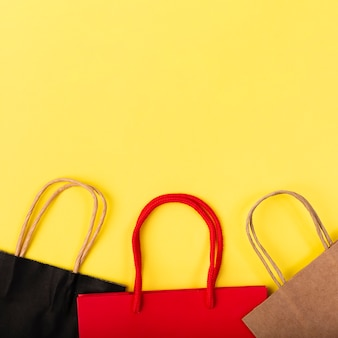 Different colored shopping bags