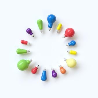 白い背景に円形のコンセプトとは異なるカラフルな電球。