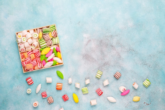 Different colorful sugar candies,top view
