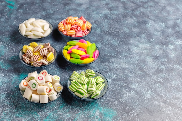 Different colorful sugar candies