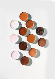 Different colors of foundation for the face