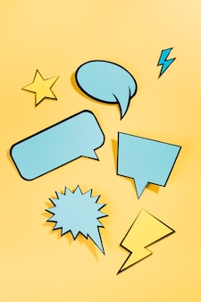 Different comic colored empty speech bubble set on colored background