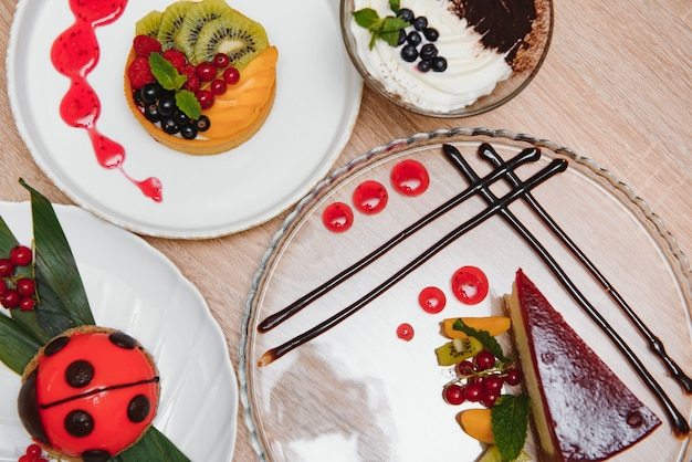 Different desserts on the table in a cafe