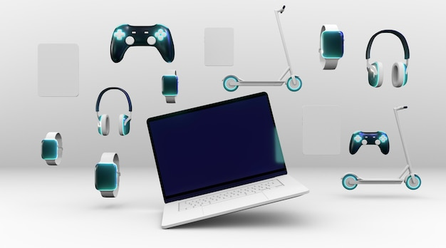 Different devices with white background