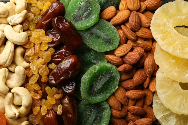 Different dried fruits and nuts on whole
